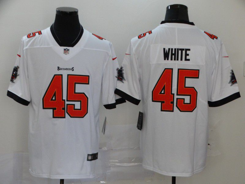 Men Tampa Bay Buccaneers 45 White White New Nike Limited Vapor Untouchable NFL Jerseys