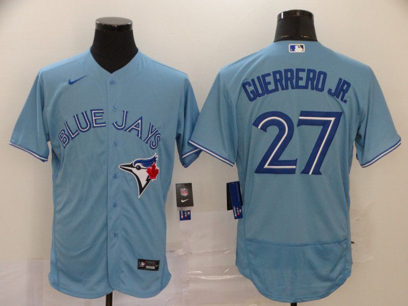 Men Toronto Blue Jays 27 Guerrero jr Light Blue Elite Nike MLB Jerseys