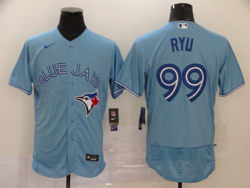 Men Toronto Blue Jays 99 Ryu Light Blue Elite Nike MLB Jerseys