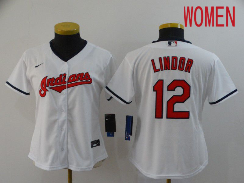 Women Cleveland Indians 12 Lindor White Nike Game MLB Jerseys