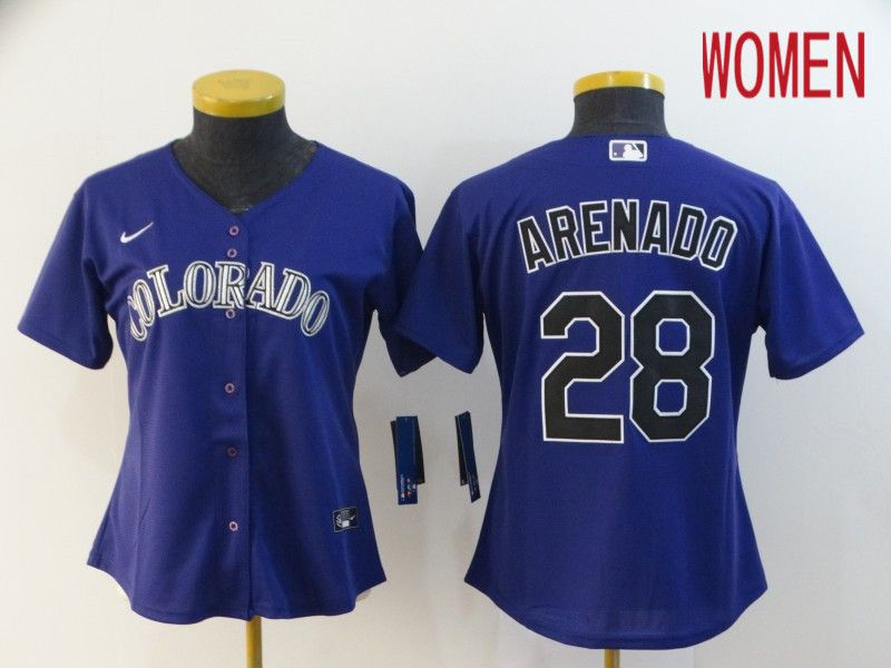 Women Colorado Rockies 28 Arenado Purple Nike Game MLB Jerseys