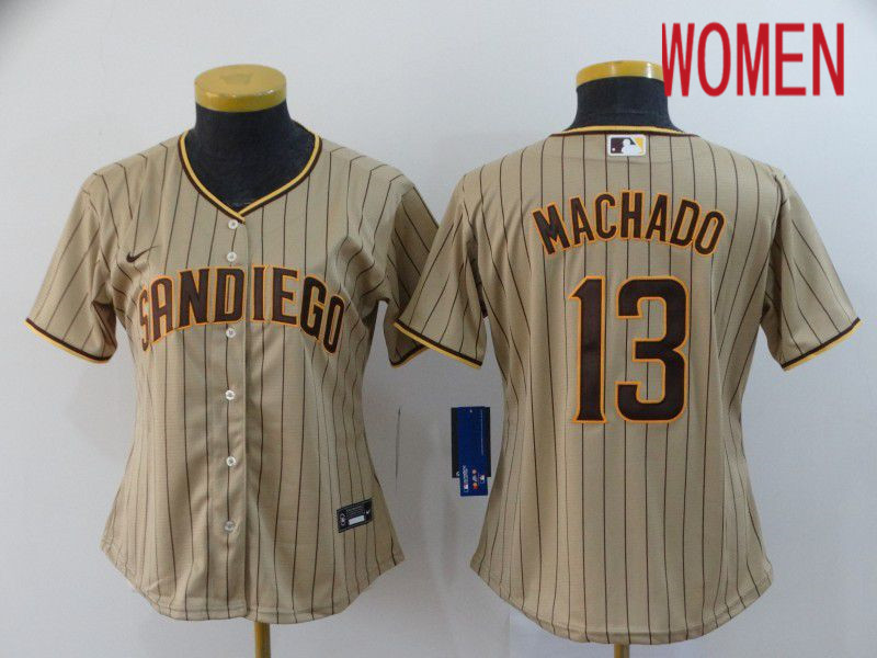 Women San Diego Padres 13 Machado brown stripes Nike Gme MLB Jerseys