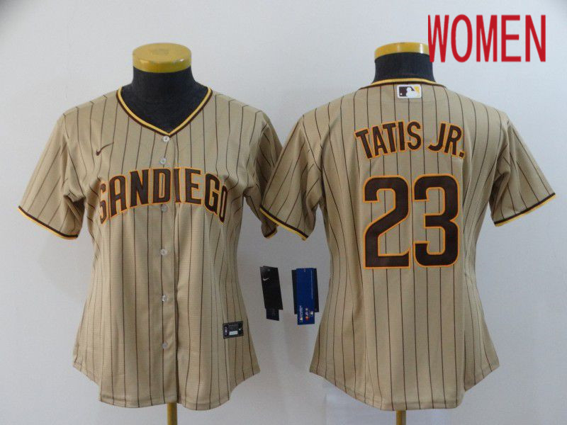 Women San Diego Padres 23 Tatis jr brown stripes Nike Game MLB Jerseys