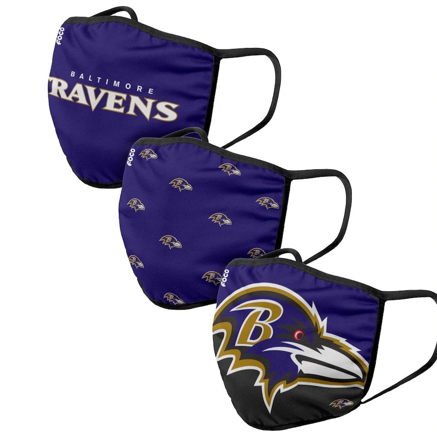 Baltimore Ravens Adult Face Covering 3-PackDust mask with filter