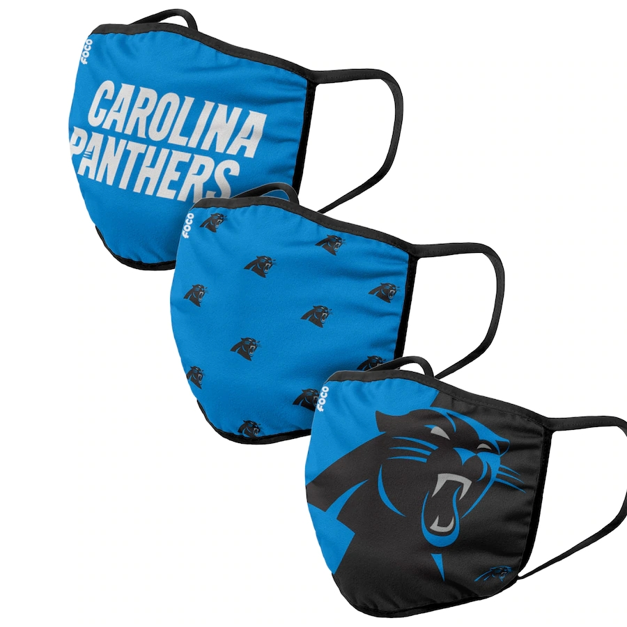 Carolina Panthers Adult Face Covering 3-PackDust mask with filter
