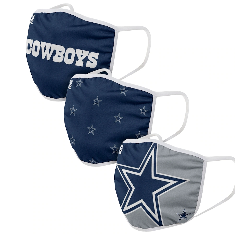 Dallas Cowboys Adult Face Covering 3-PackDust mask with filter