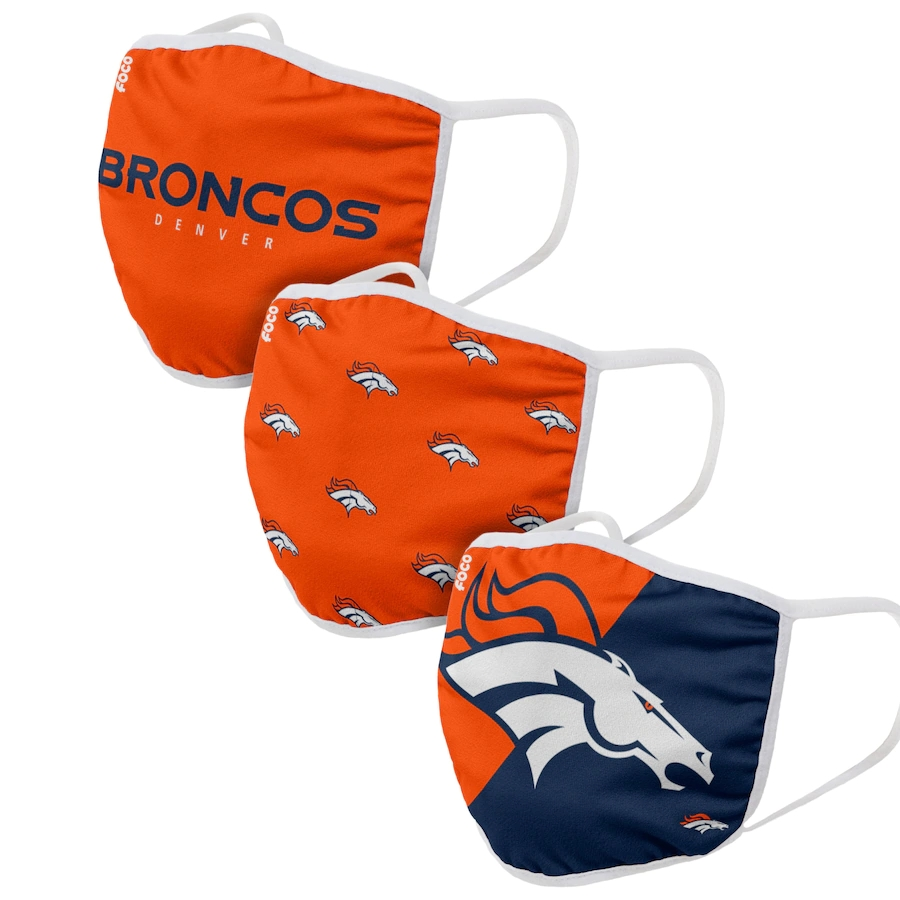Denver Broncos Adult Face Covering 3-PackDust mask with filter