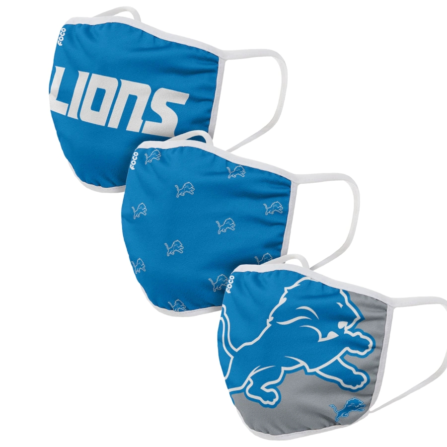 Detroit Lions Adult Face Covering 3-PackDust mask with filter