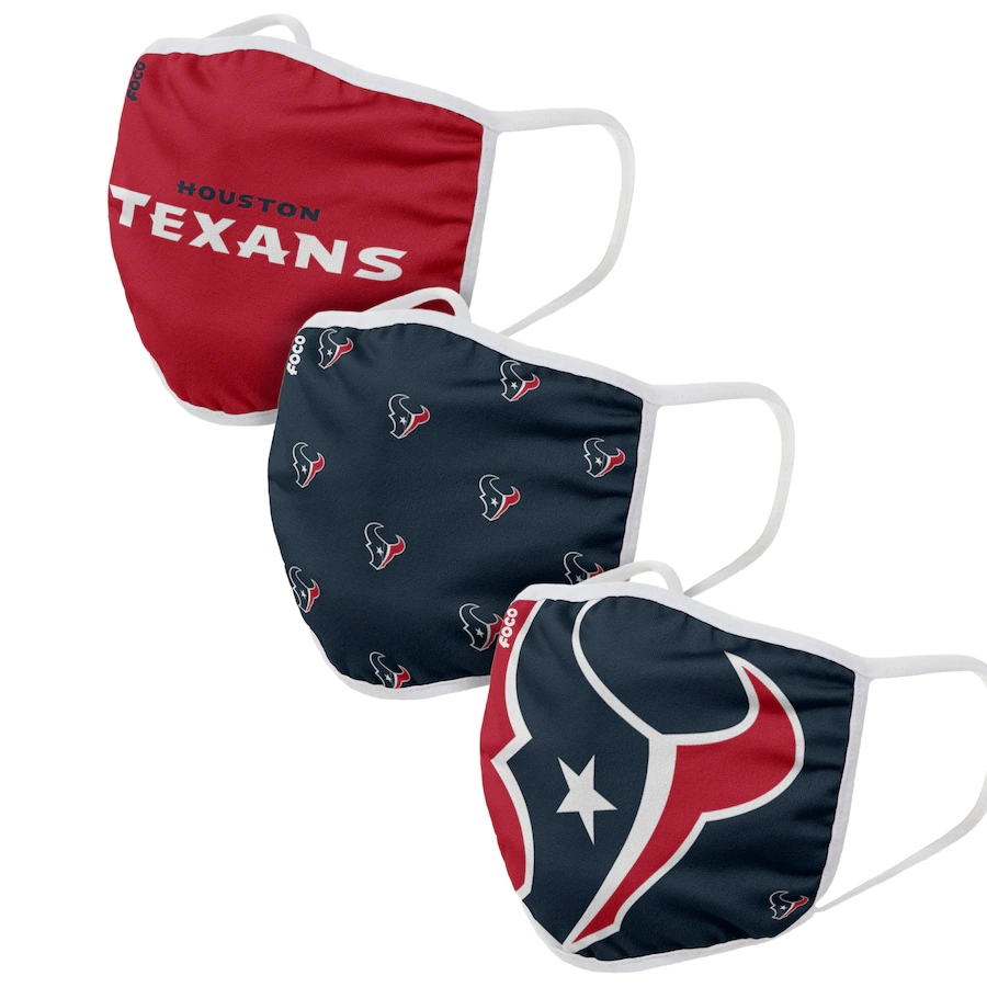 Houston Texans Adult Face Covering 3-PackDust mask with filter