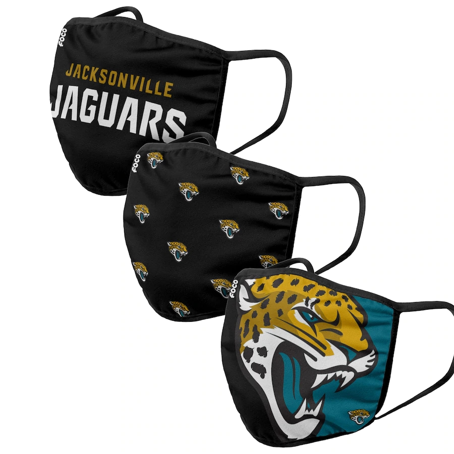 Jacksonville Jaguars Adult Face Covering 3-PackDust mask with filter