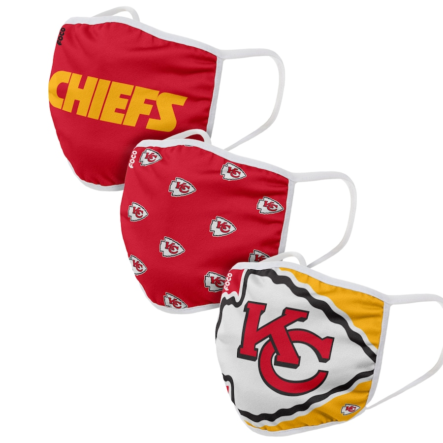 Kansas City Chiefs Adult Face Covering 3-PackDust mask with filter