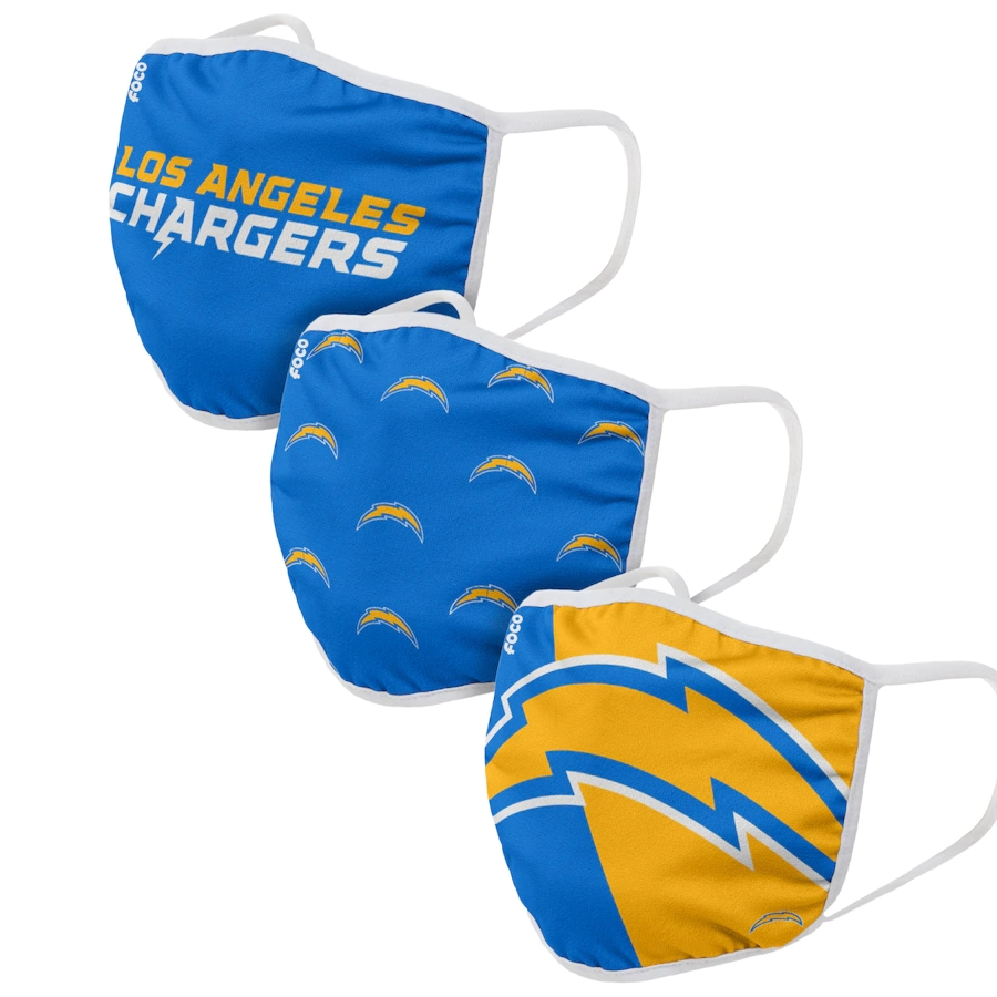 Los Angeles Chargers Adult Face Covering 3-PackDust mask with filter