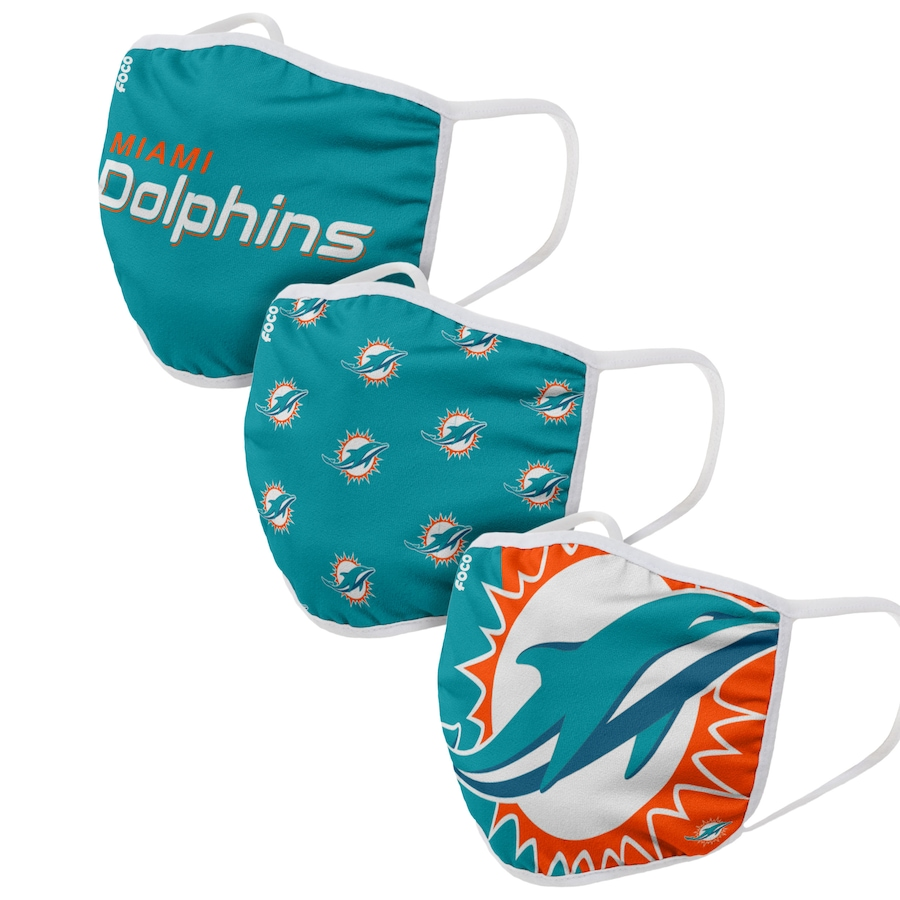 Miami Dolphins Adult Face Covering 3-PackDust mask with filter
