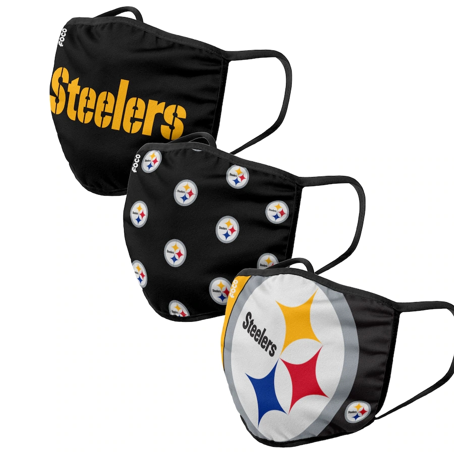 Pittsburgh Steelers Adult Face Covering 3-PackDust mask with filter