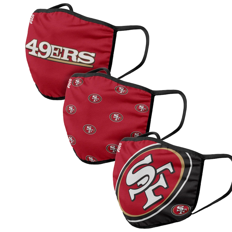 San Francisco 49ers Adult Face Covering 3-PackDust mask with filter