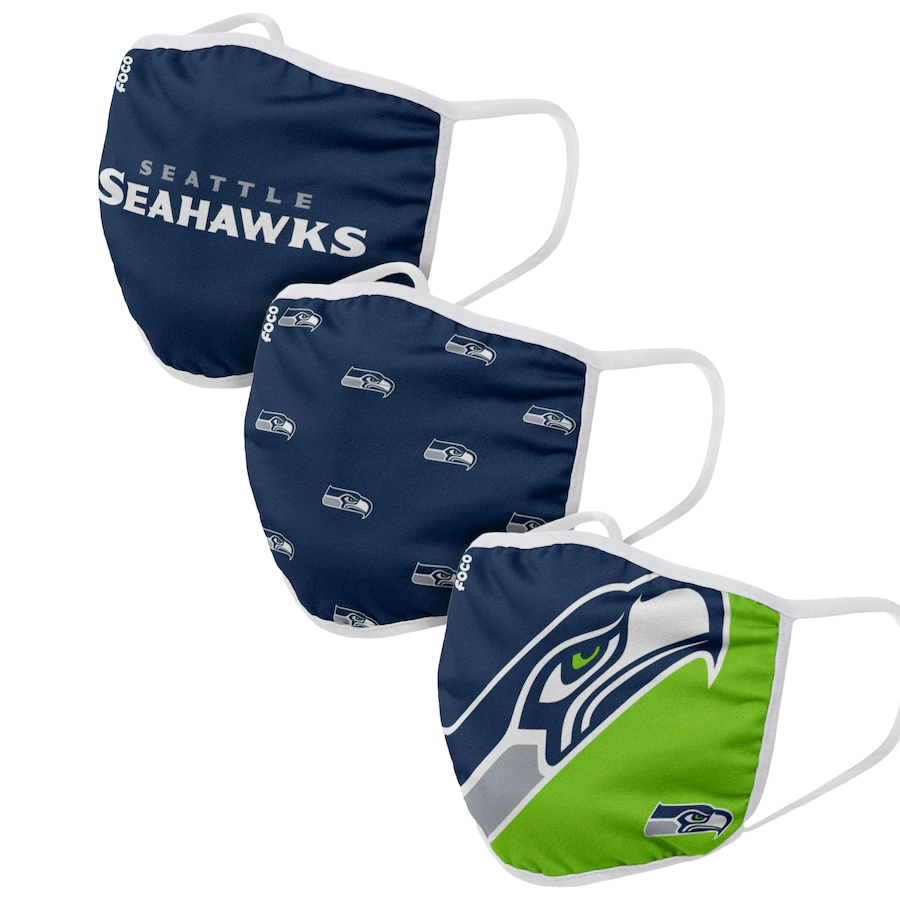 Seattle Seahawks Adult Face Covering 3-PackDust mask with filter