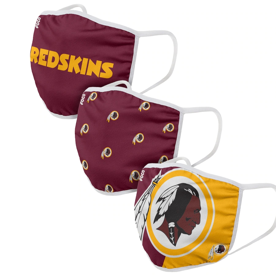 Washington Redskins Adult Face Covering 3-PackDust mask with filter
