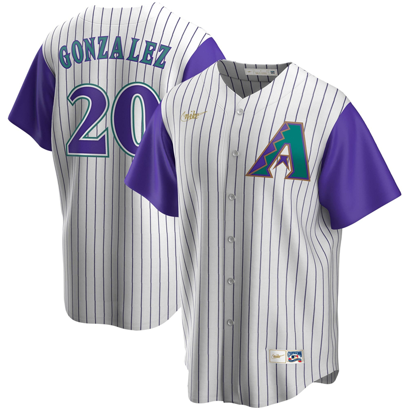 2020 MLB Men Arizona Diamondbacks 20 Luis Gonzalez Nike Cream Purple Alternate Cooperstown Collection Player Jersey 1