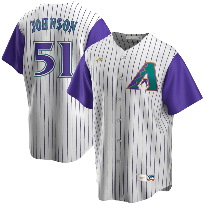 2020 MLB Men Arizona Diamondbacks 51 Randy Johnson Nike Cream Purple Alternate Cooperstown Collection Player Jersey 1