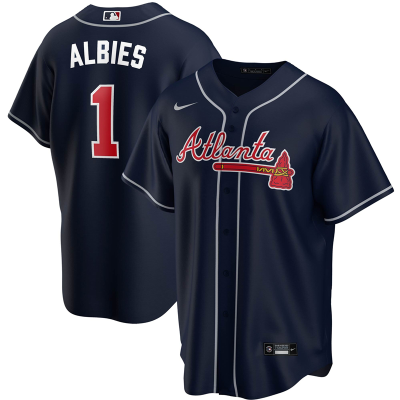 2020 MLB Men Atlanta Braves 1 Ozzie Albies Nike Navy Alternate 2020 Replica Player Jersey 1