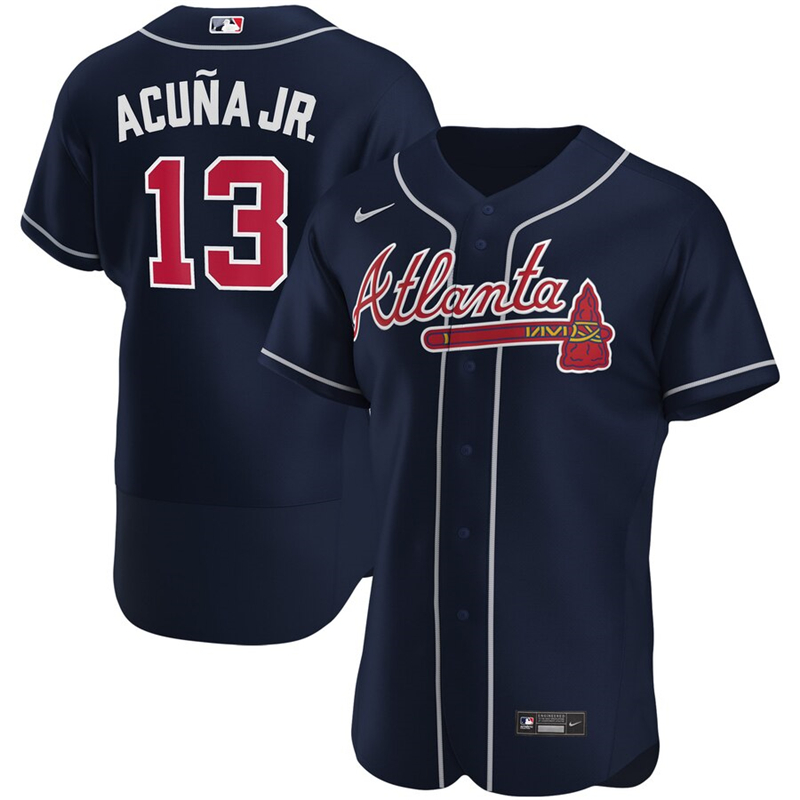 2020 MLB Men Atlanta Braves 13 Ronald Acuna Jr. Nike Navy Alternate 2020 Authentic Player Jersey 1
