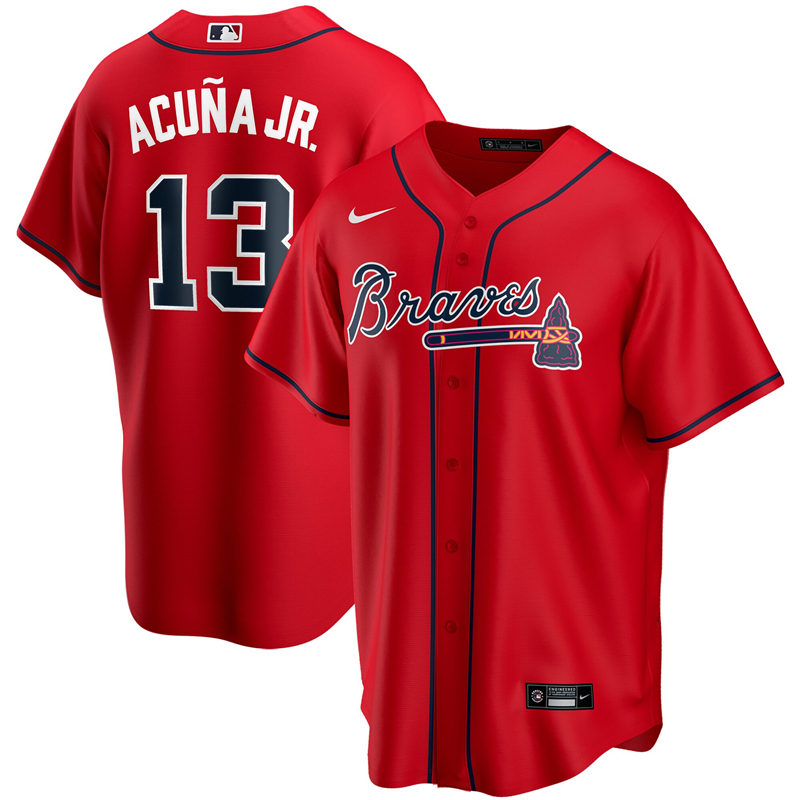 2020 MLB Men Atlanta Braves 13 Ronald Acuna Jr. Nike Red Alternate 2020 Replica Player Jersey 1