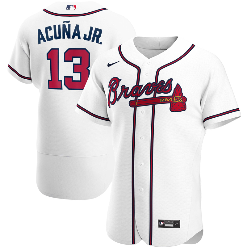 2020 MLB Men Atlanta Braves 13 Ronald Acuna Jr. Nike White Home 2020 Authentic Player Jersey 1