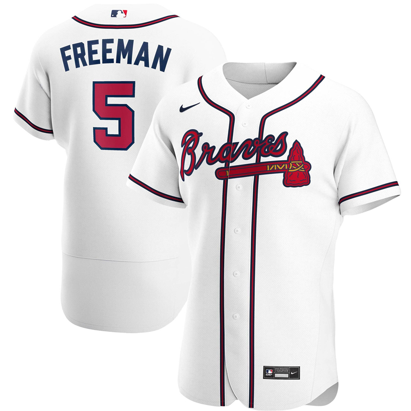 2020 MLB Men Atlanta Braves 5 Freddie Freeman Nike White Home 2020 Authentic Player Jersey 1