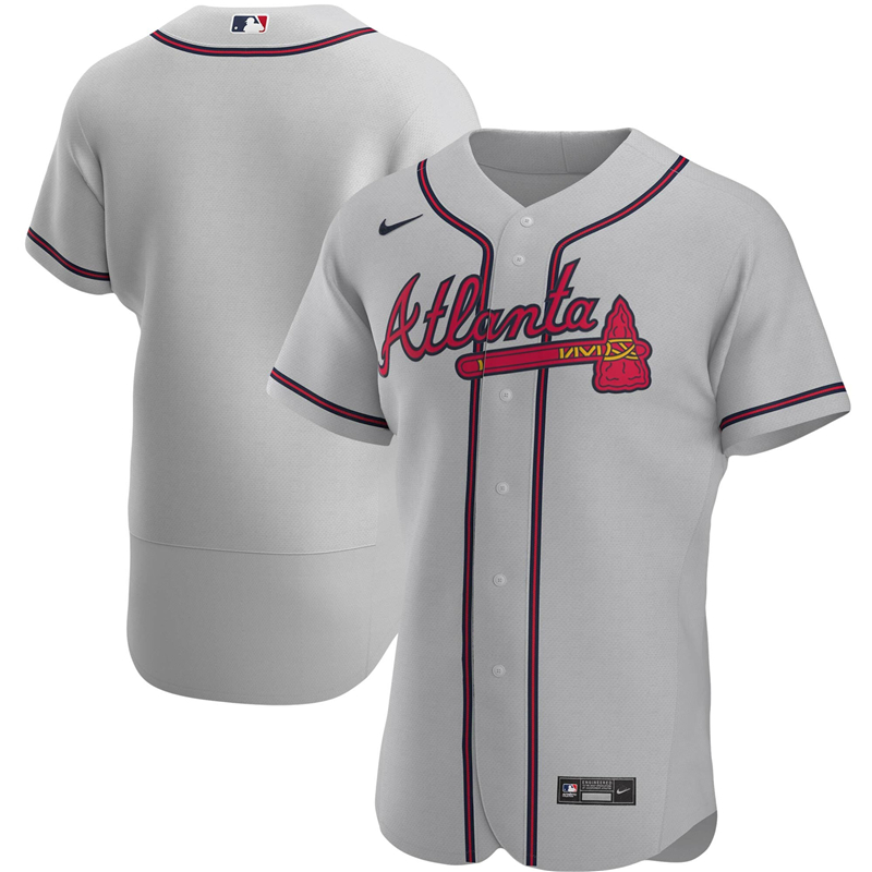 2020 MLB Men Atlanta Braves Nike Gray Road 2020 Authentic Official Team Jersey 1