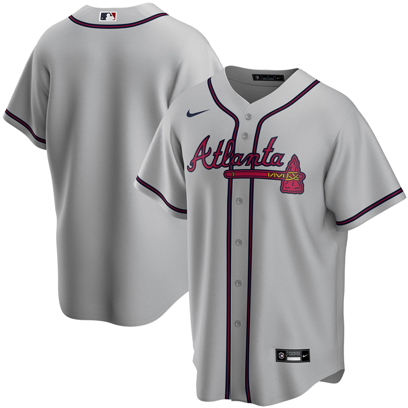 2020 MLB Men Atlanta Braves Nike Gray Road 2020 Replica Team Jersey 1