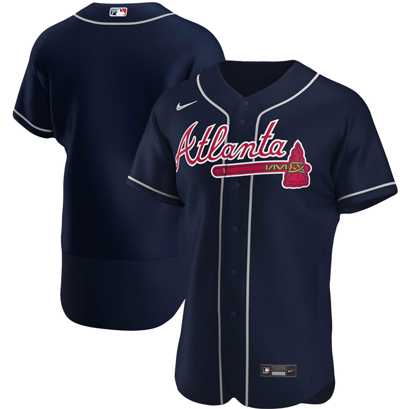 2020 MLB Men Atlanta Braves Nike Navy Alternate 2020 Authentic Official Team Jersey 1