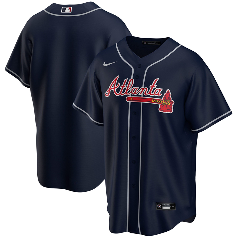 2020 MLB Men Atlanta Braves Nike Navy Alternate 2020 Replica Jersey 1