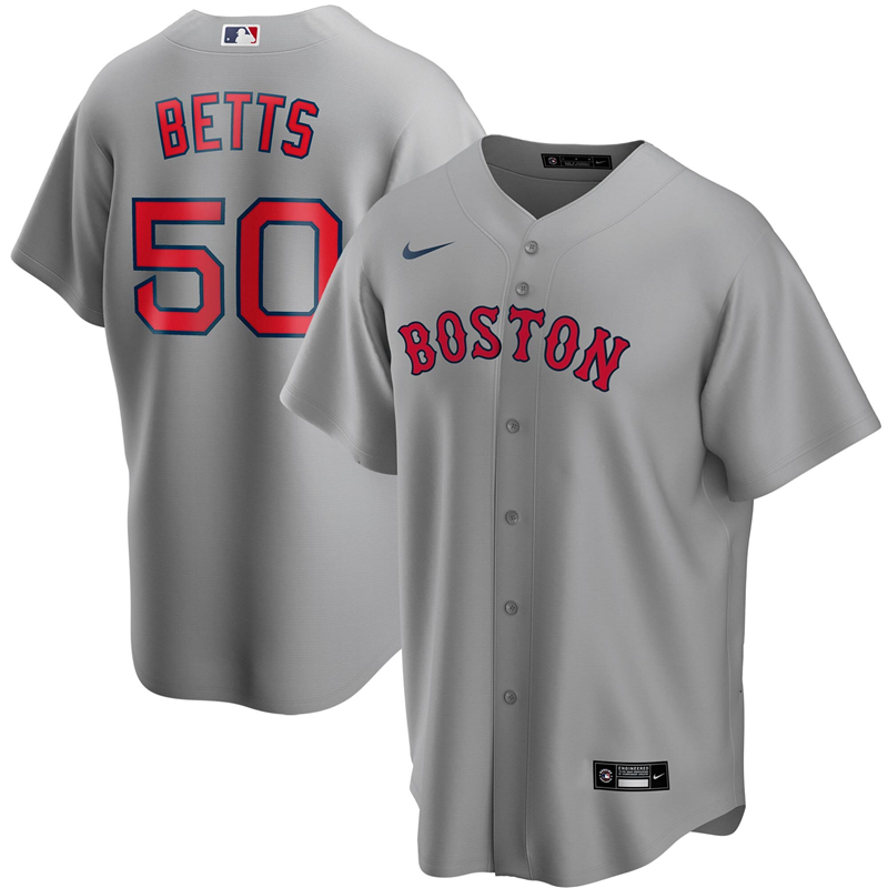 2020 MLB Men Boston Red Sox 50 Mookie Betts Nike Gray Road 2020 Replica Player Jersey 1