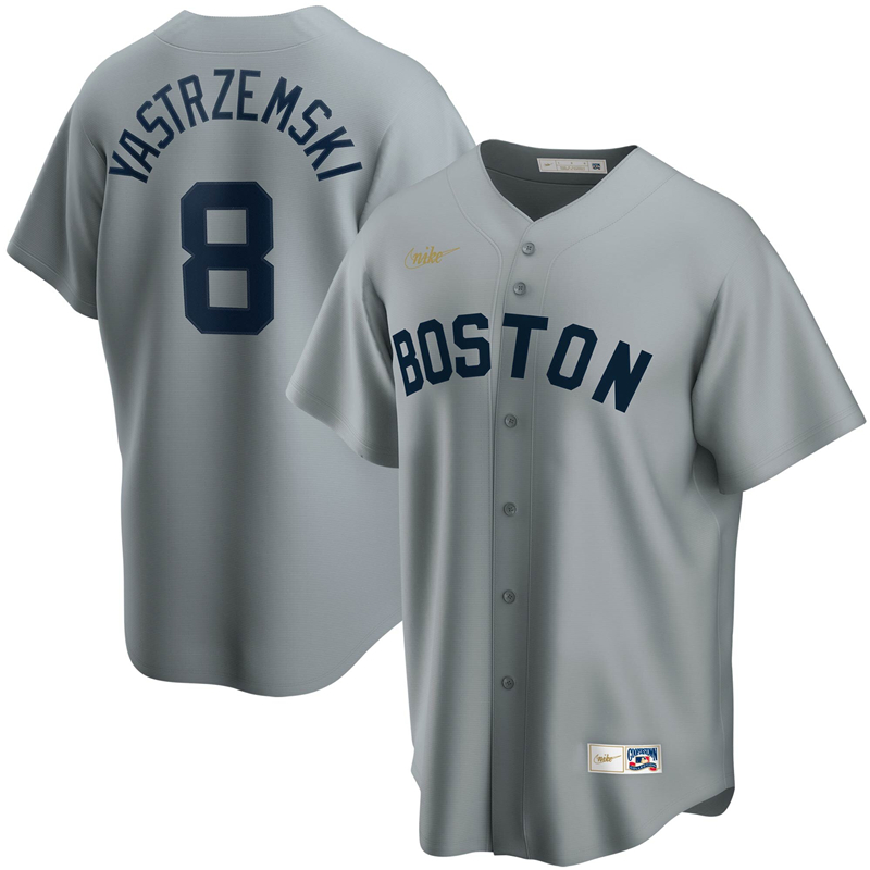 2020 MLB Men Boston Red Sox 8 Carl Yastrzemski Nike Gray Road Cooperstown Collection Player Jersey 1
