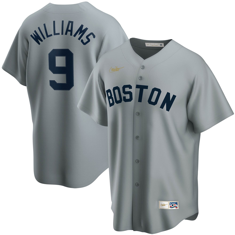 2020 MLB Men Boston Red Sox 9 Ted Williams Nike Gray Road Cooperstown Collection Player Jersey 1