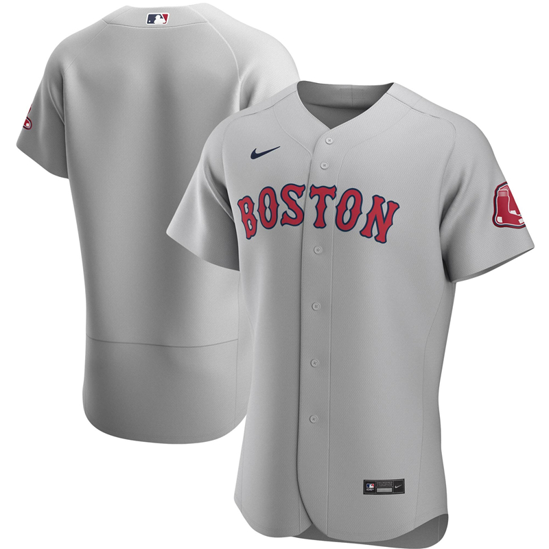 2020 MLB Men Boston Red Sox Nike Gray Road 2020 Authentic Official Team Jersey 1