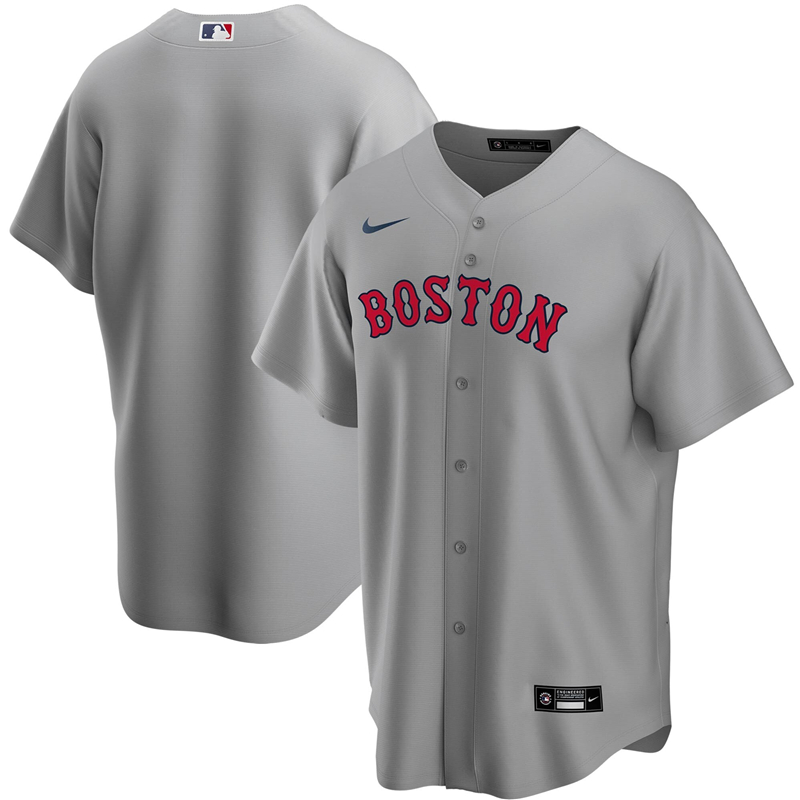 2020 MLB Men Boston Red Sox Nike Gray Road 2020 Replica Jersey 1
