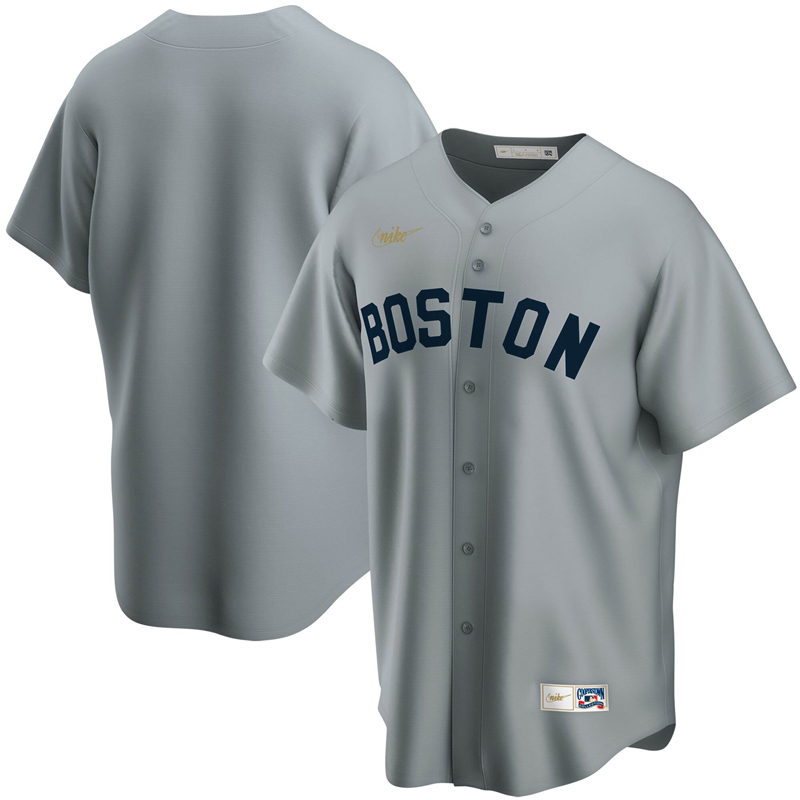 2020 MLB Men Boston Red Sox Nike Gray Road Cooperstown Collection Team Jersey 1