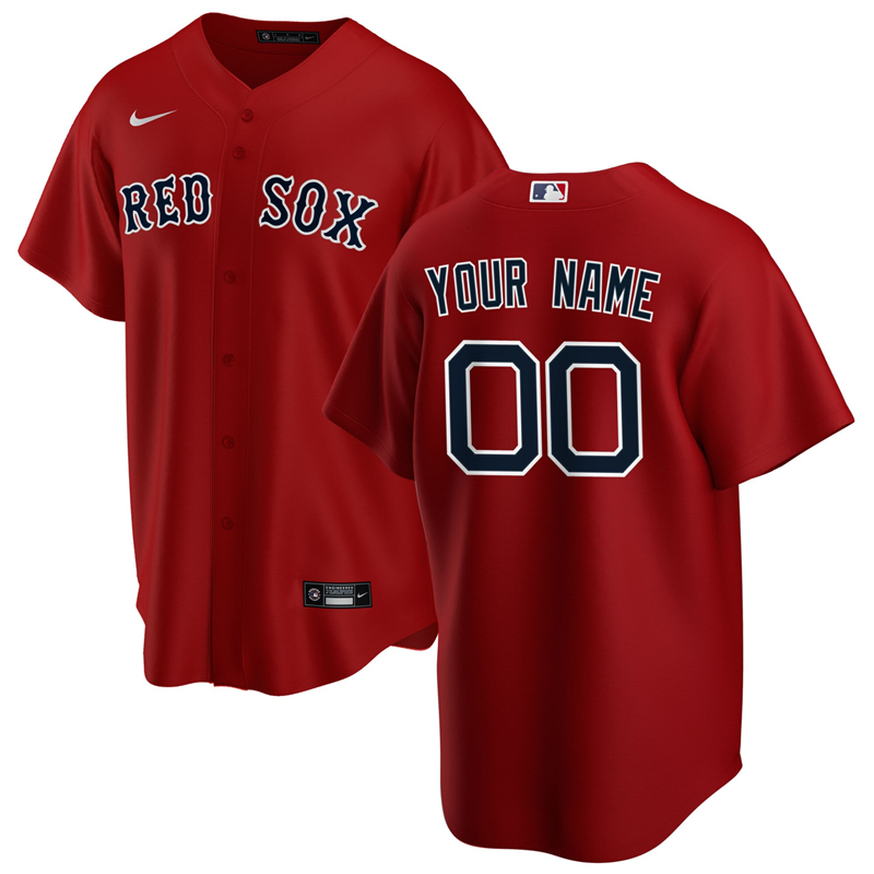 2020 MLB Men Boston Red Sox Nike Red Alternate 2020 Replica Custom Jersey 1