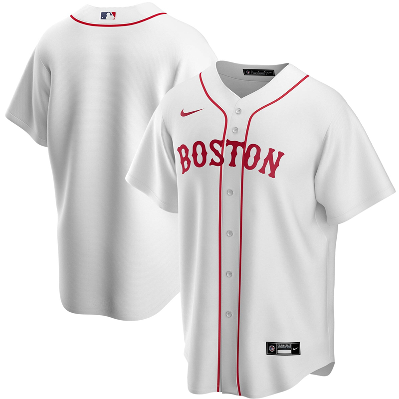 2020 MLB Men Boston Red Sox Nike White Alternate 2020 Replica Team Jersey 1