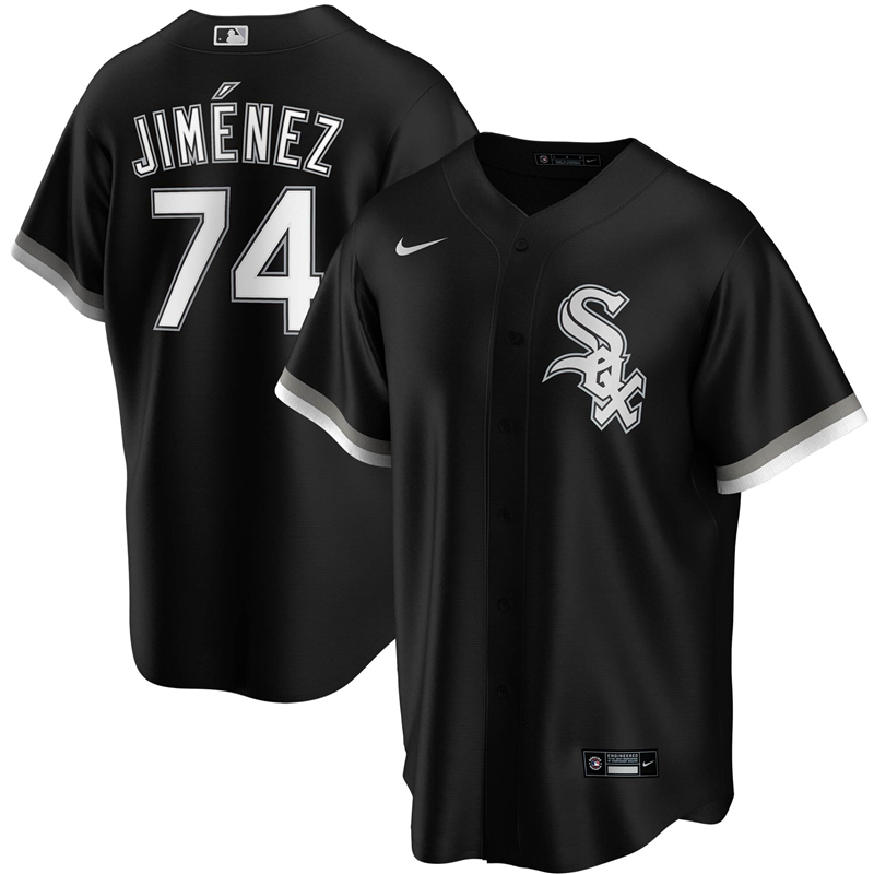 2020 MLB Men Chicago White Sox 74 Eloy Jimenez Nike Black Alternate 2020 Replica Player Jersey 1