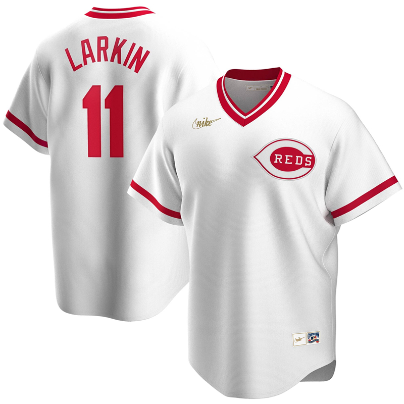 2020 MLB Men Cincinnati Reds 11 Barry Larkin Nike White Home Cooperstown Collection Player Jersey 1