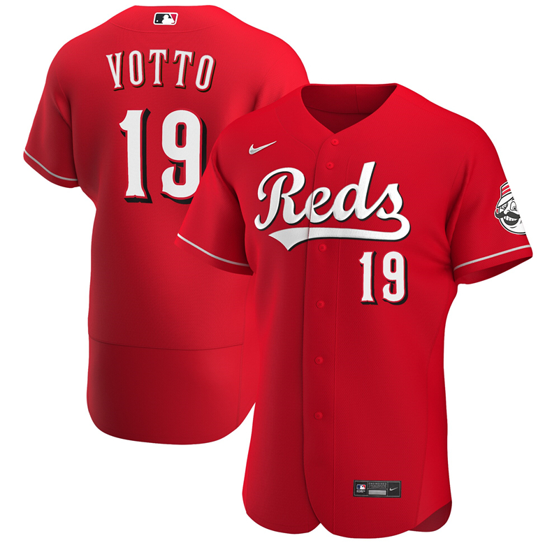 2020 MLB Men Cincinnati Reds 19 Joey Votto Nike Scarlet Alternate 2020 Authentic Player Jersey 1