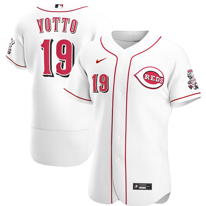2020 MLB Men Cincinnati Reds 19 Joey Votto Nike White Home 2020 Authentic Player Jersey 1