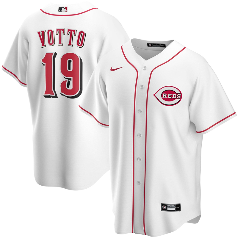 2020 MLB Men Cincinnati Reds 19 Joey Votto Nike White Home 2020 Replica Player Jersey 1