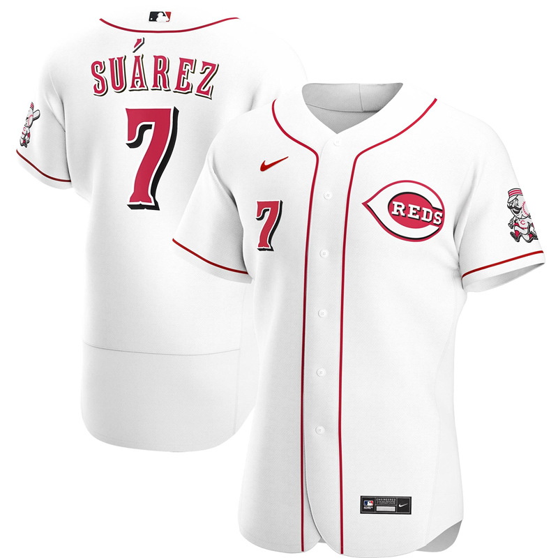 2020 MLB Men Cincinnati Reds 7 Eugenio Suarez Nike White Home 2020 Authentic Player Jersey 1