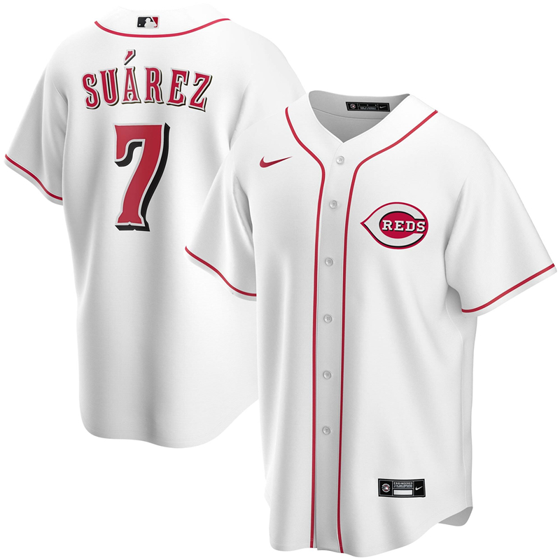2020 MLB Men Cincinnati Reds 7 Eugenio Suarez Nike White Home 2020 Replica Player Jersey 1