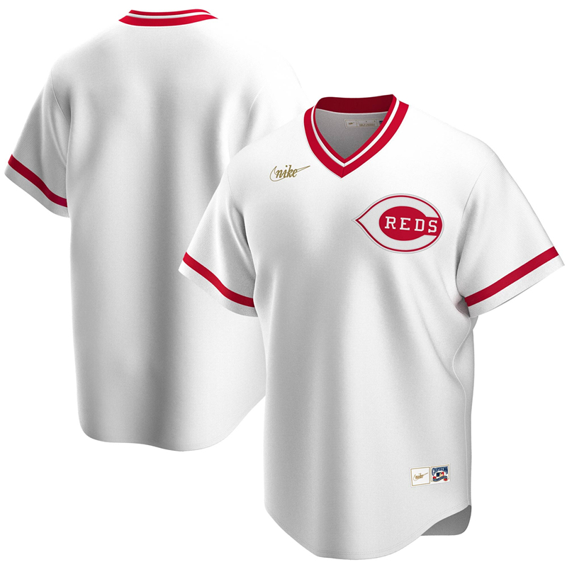 2020 MLB Men Cincinnati Reds Nike White Home Cooperstown Collection Team Jersey 1