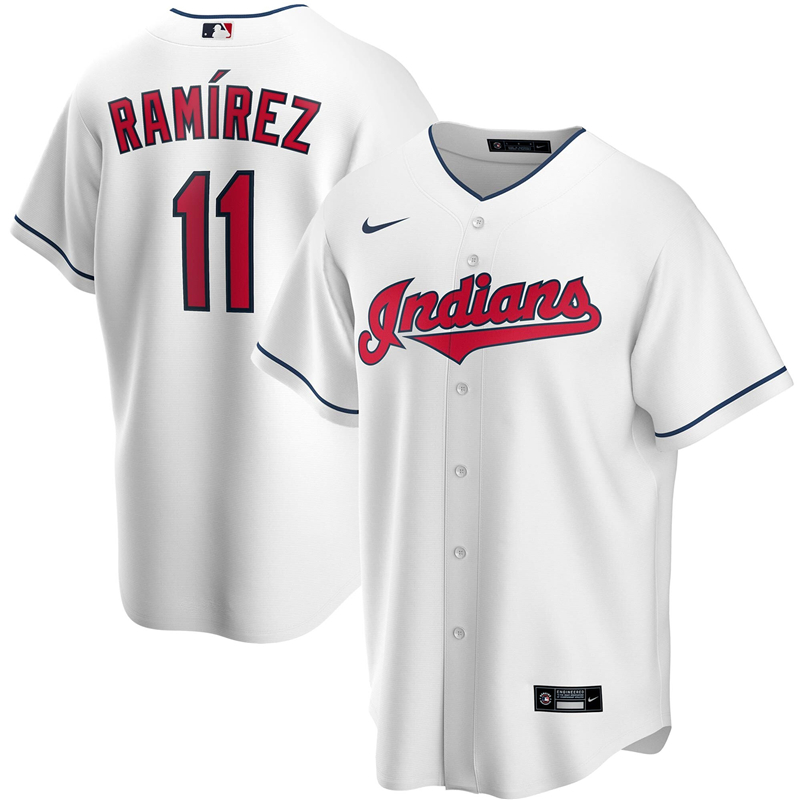 2020 MLB Men Cleveland Indians 11 Jose Ramirez Nike White Home 2020 Replica Player Jersey 1