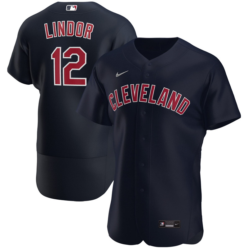 2020 MLB Men Cleveland Indians 12 Francisco Lindor Nike Navy Alternate 2020 Authentic Player Jersey 1